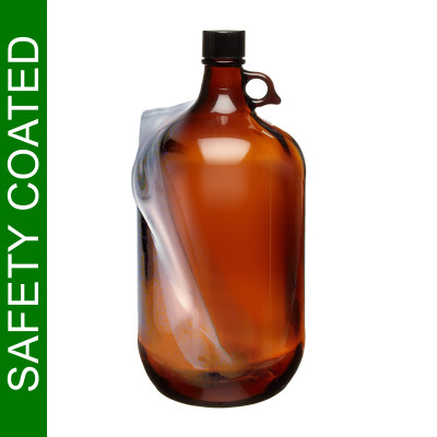 Safety Coated Amber Glass Jugs, 4 Liter with PTFE Lined Cap, each