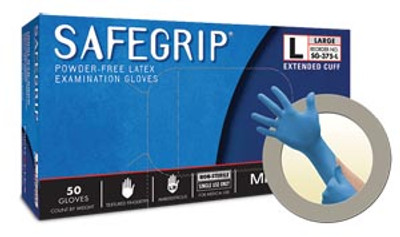 Ansell Microflex Safegrip® Exam Gloves, Extended Cuff, Powder-Free, Latex, Textured, Long, Blue, case/500