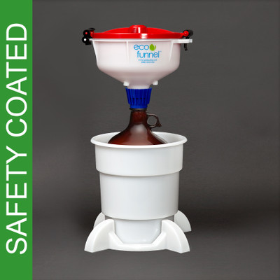 "8"" ECO Funnel System, 4L Safety Coated Bottles, Secondary Container"