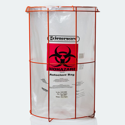"""Biohazard Bag Stand with (100) 24 x 30"""" Autoclavable Bags, Poxygrid"""