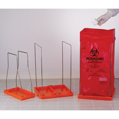 Biohazard Bag Stand, Medium with 100 Autoclavable Bags, Poxygrid