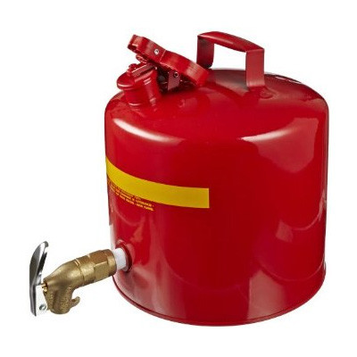 Faucet Can, 5 gallon EAGLE Red Steel Safety Can with Brass Faucet