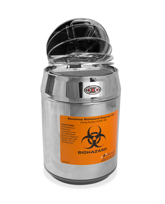 Bench Top Biohazard Trash Can, Stainless Steel, Motion Sensor Lid, case/12