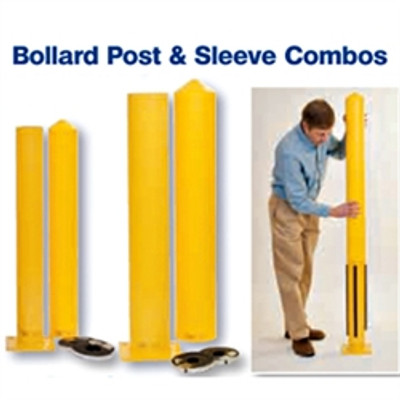 "Eagle® Steel Bollard Post Combo with Post Sleeve, 6.625"" x 42"" Yellow"