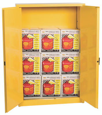 Eagle® Safety Cabinet and 9 Safety Cans with Funnels, 45 gallon