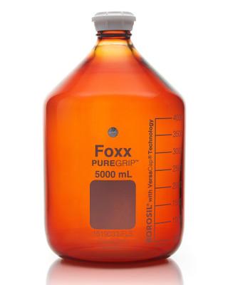PUREGRIP Glass Bottles Media Round Amber GL45 VersaCap 5000mL