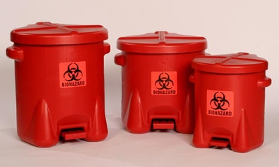 Eagle® Biohazard Polyethylene Disposal Can,10 gallon, Red