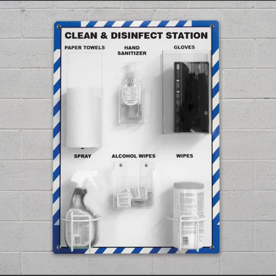 """Clean and Disinfect PPE Station, 32"""" x 27"""", Station Only"""