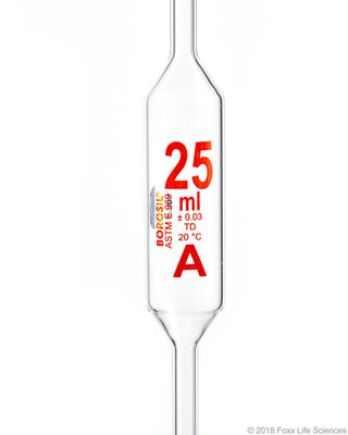Borosil Pipettes Volumetric Class A 25mL Batch Certificate