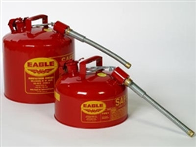 "Eagle® Type II Safety Can 2 gallon, Red with 7/8"" O.D. Flexible Spout"