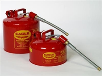 "Eagle® Type II Safety Can, 5 gallon Red with 7/8"" O.D. Flexible Spout"