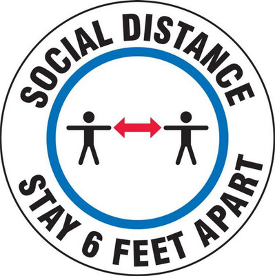 """Covid-19 Door Stickers, 6-Ft Social Distancing Required, 6"""" Round, pack/5"""