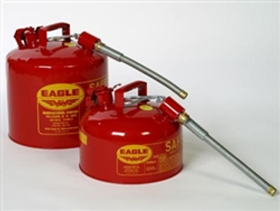 "Eagle® Type II Safety Can, 5 gallon Red with 5/8"" O.D. Flexible Spout"