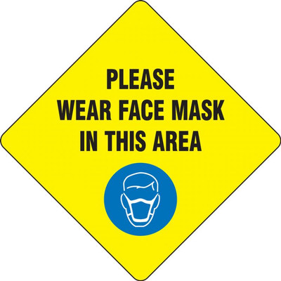 """Covid-19 Safety Floor Sign Sticker, Wear Face Mask, 12"""", Yellow"""