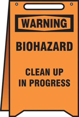 "Fold-Ups OSHA Warning Safety Sign, Biohazard Clean Up In Progress, 20"" X 12"", Each"