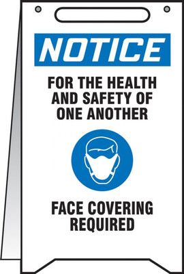 """OSHA Notice Fold-Ups Safety Sign, For The Health And Safety Of One Another Please Face Covering Required, 20"""" X 12"""", Each"""