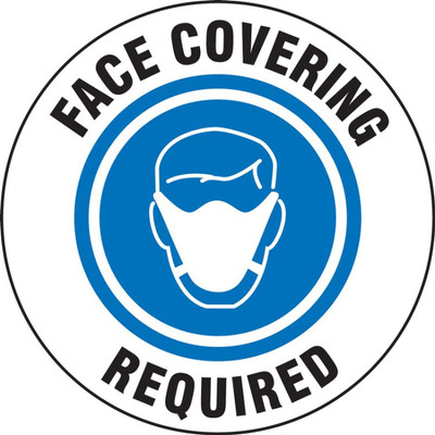 """COVID-19 Door Stickers: Face Covering Required, 6"""", 5/PK"""