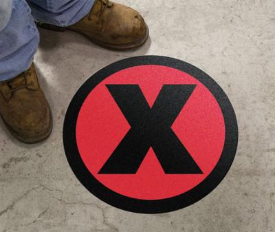 "Slip-Gard Floor Sign, X Symbol Red, 17"", Each"