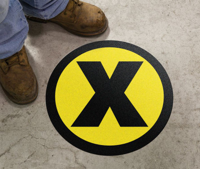 "Slip-Gard Floor Sign, X Symbol Yellow, 17"", Each"