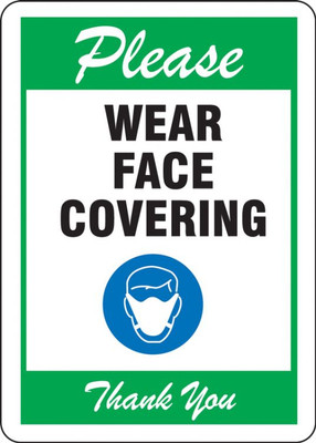 Safety Sign, Please Wear a Face Mask, Thank You, Green, Each