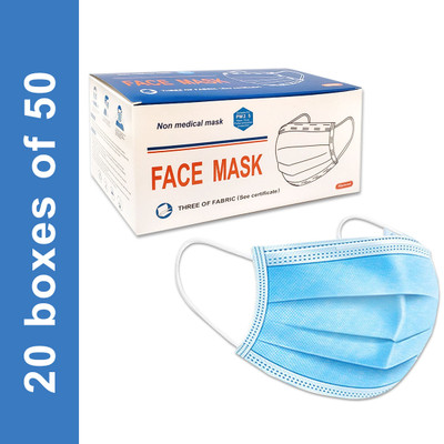 Disposable Civilian Face Mask with Ear Loop, 3-Ply Blue, boxes of 50, case/1000 masks
