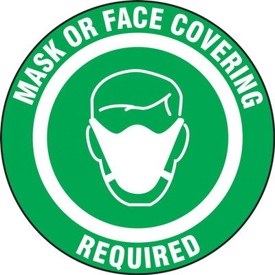 Safety Label, Mask Or Face Covering Required, Adhesive Vinyl, 5/PK