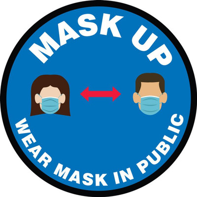 Safety Label, Mask Up Wear Your Mask In Public Places, Adhesive Vinyl, 5/PK