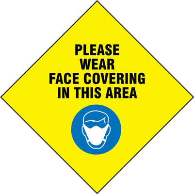 Safety Label: Please Wear Face Covering In This Area, Yellow, 5/PK
