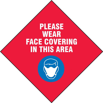 Safety Label, Please Wear Face Covering In This Area, Red, 5/PK