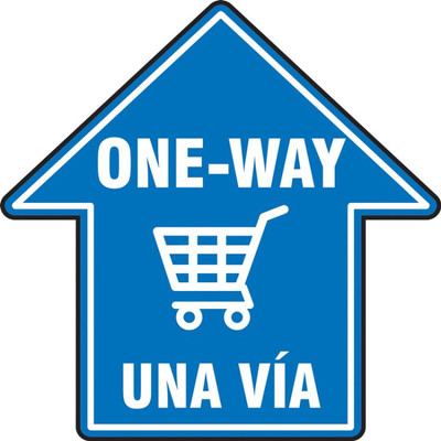 "Slip-Gard Floor Sign, One Way In Arrow Shape, 17"", Bilingual - Spanish/English, Each"