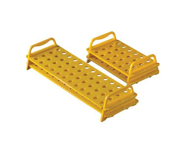 Rack for Micro Tubes, Autoclavable Polycarbonate, Yellow, 24 Places, pack/8