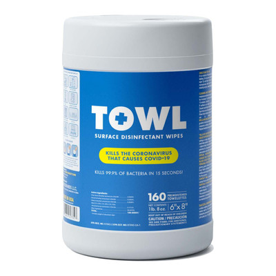 EPA Approved TOWL Surface Disinfectant Wipes, 4 Minute Kill, Large Wipes, TOWL Surface Disinfectant Wipe, 160 per canister,  case/12