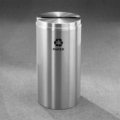 Recycling Bin, RecyclePro Waste Receptacle for Paper, 16 gal, Satin Aluminum