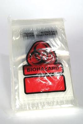 "Biohazardbag, 6"" x 9"", Closure Flap, 3"" x 5"" Absorbent Insert Pad, 500 per case"