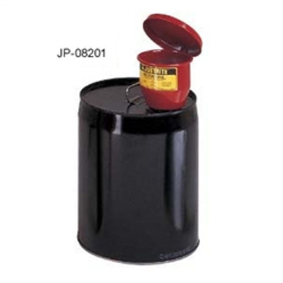 "Justrite® Metal Funnel for 5 gal pails, Self-Closing lid & 1"" flame arrester"