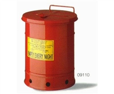Justrite® Oily Waste Can, 21 gal, Hand Operated Cover