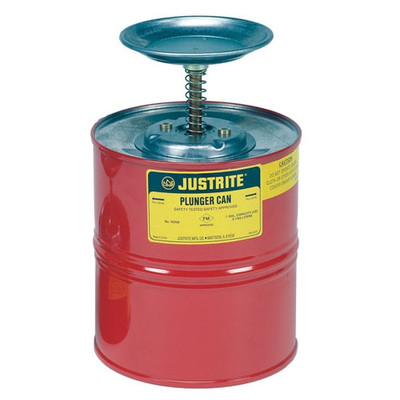 Justrite 10308 Steel Plunger Can, 1 gallon
