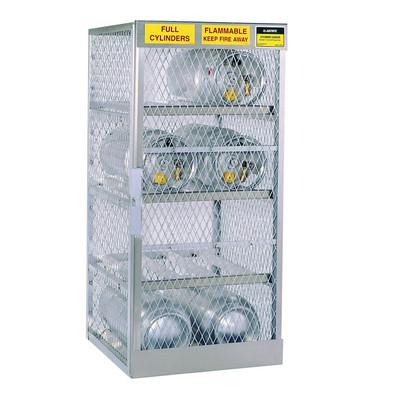 Horizontal Gas Cylinder Storage Locker, Aluminum, 6 Cylinders