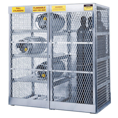 Gas Cylinder Storage Locker, Aluminum, 8 Horizontal & 10 Vertical