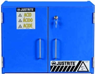 Justrite® Wood Laminate Acid and Corrosive Cabinet 15 Liter Blue