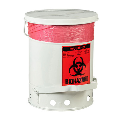 Biohazard Waste Can, 6 Gallon, Foot-Operated Self-Closing SoundGard™ Cover, White