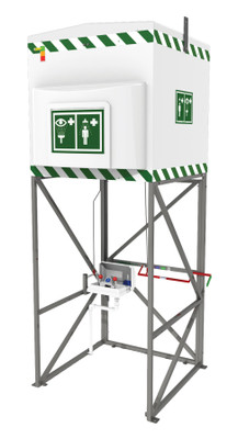 Immersion heated 1200L Emergency Tank Shower with SS Frrame, All Climates