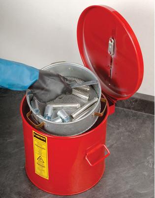 Justrite 3.5 gallon Steel Wash Tank with Basket, Round