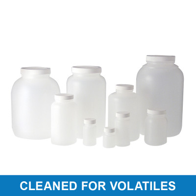 3840cc HDPE Collared Wide Mouth Round with 89-400 Black PP Cap & PTFE Disc, Cleaned & Certified for Volatiles, case/4