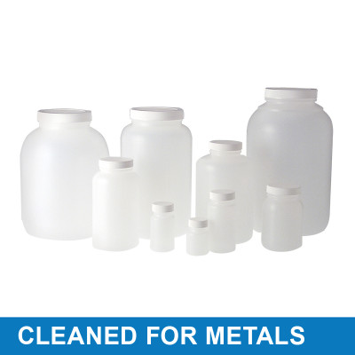 2oz (60mL) HDPE Wide Mouth Round with 33-400 Black PP Cap & F217 Disc, Cleaned & Certified for Metals, case/48