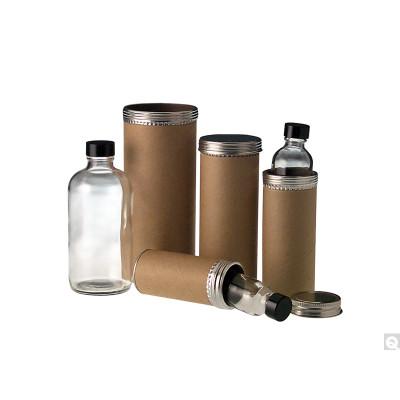 "2.5 x 6.5"" Cardboard Specimen Tube Mailer, 8oz (240mL) Clear Glass Medium Round Bottle with 58-400 Black Vinyl Lined Caps, case/24"