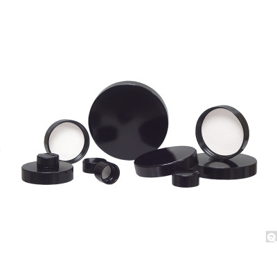 18-400 Black Ribbed Phenolic Cap with Pulp/Vinyl Liner, case/7600