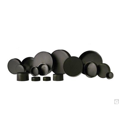 45-400 Black Ribbed Polypropylene Unlined Cap, case/2000