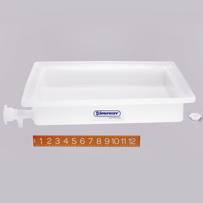 "Lab Tray with Faucet, Rugged LDPE, 16"" x 20"" x 3"""