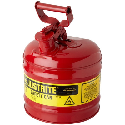 Justrite® Type I Steel Safety Can for Oil/ Flammables, 2 gallon, Red